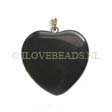 BLACK STONE -  GEMSTONE HART PENDANT 25MM